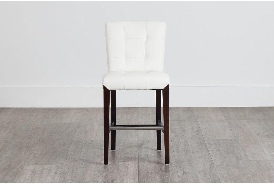 """Shelby Whitemicro 24"""" Upholstered Barstool,  (0)"""