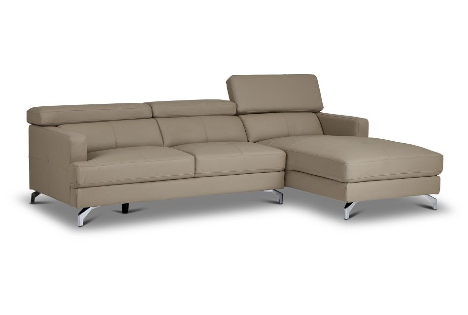 Marquez Taupe Micro Right Chaise Sectional,  (3)