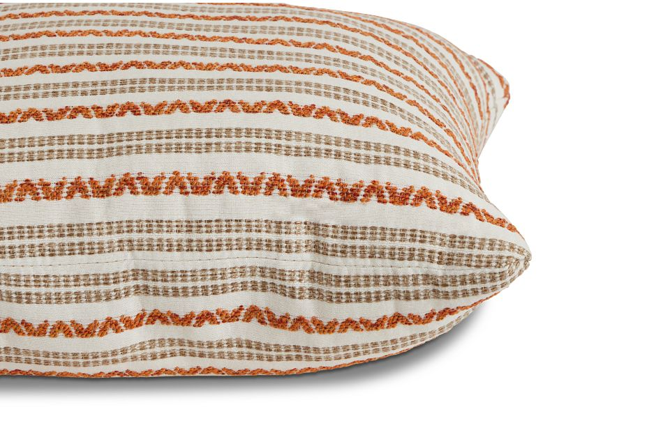 "Budreau Orange Fabric 20"" Accent Pillow,  (2)"