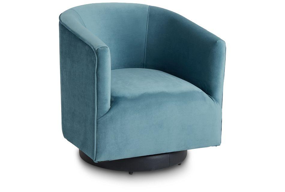 Charlotte Light Blue Velvet Swivel Accent Chair,  (1)