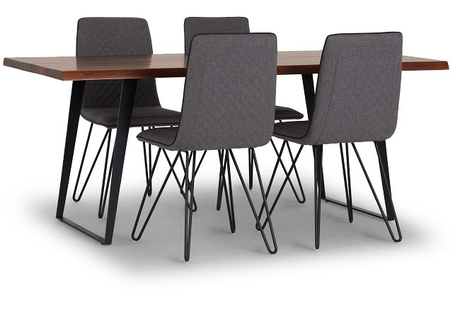 Shiloh Mid Tone Rect Table & 4 Upholstered Chairs