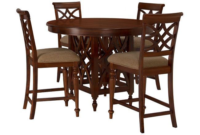 Oxford Mid Tone Round High Table & 4 Wood Barstools