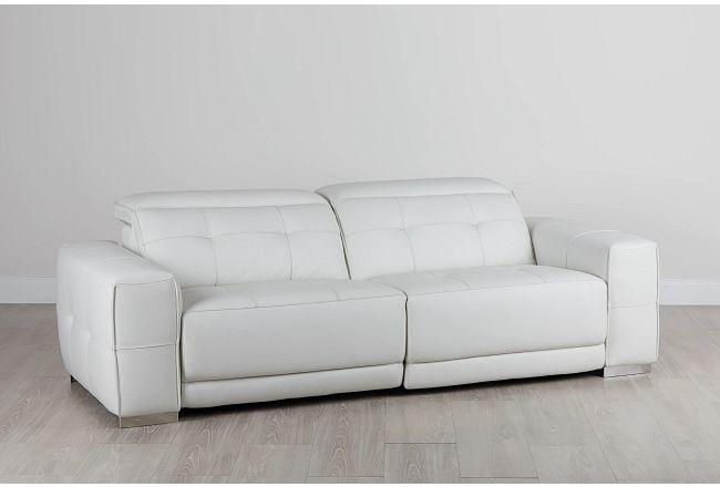 Reva White Leather Power Reclining Sofa