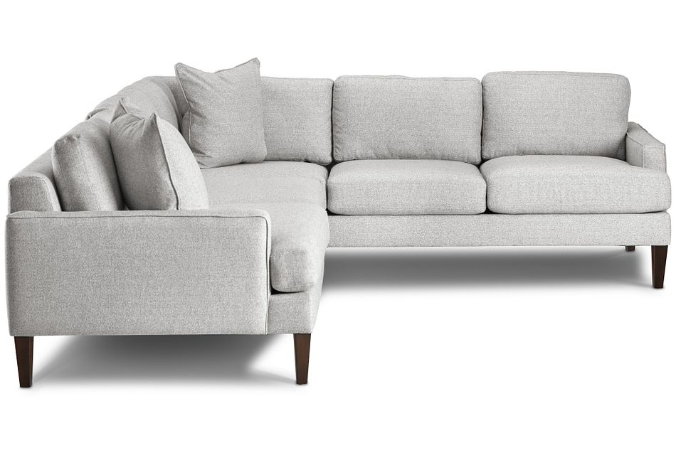 Morgan Light Gray Fabric Small Left 2-arm Sectional W/ Wood Legs