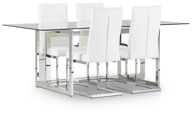 Bronx Glass White Table & 4 Upholstered Chairs (1)