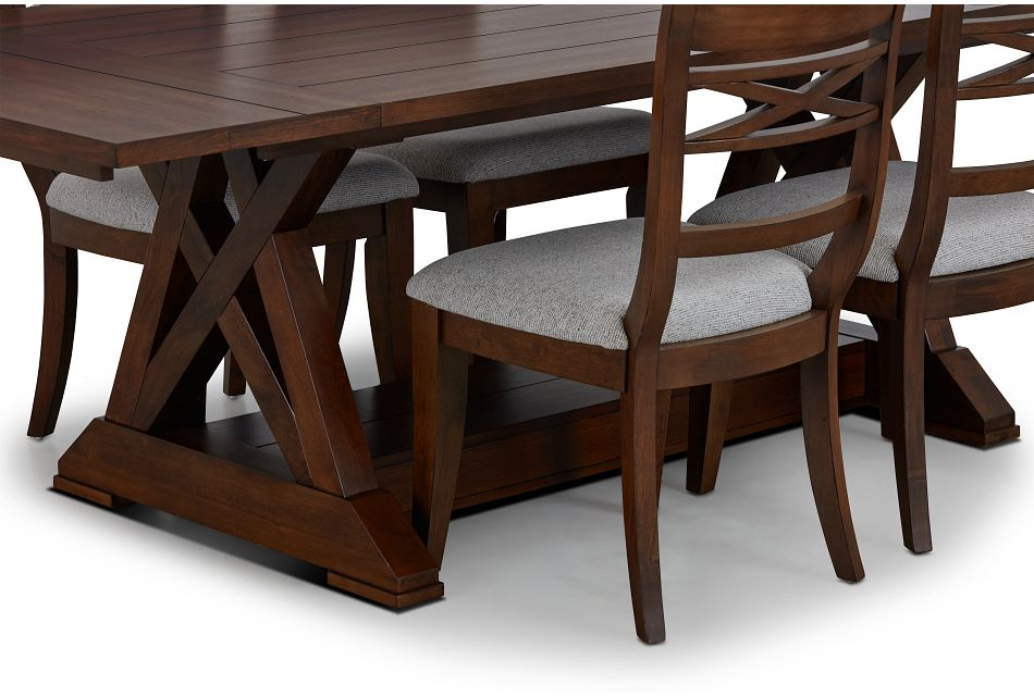 Bloomington Dark Tone Rect Table & 4 Upholstered Chairs