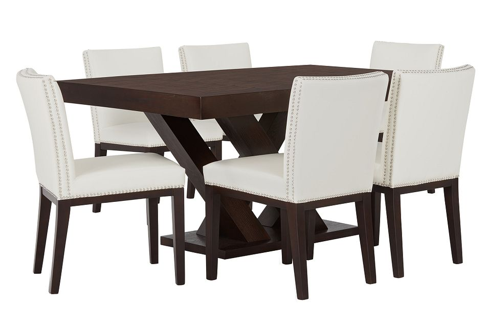 Madero WHITE RECT Table & 4 Upholstered Chairs