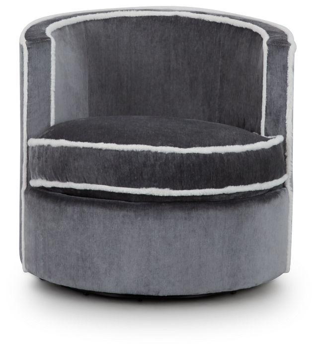 Fleur Dark Gray Fabric Swivel Chair (3)