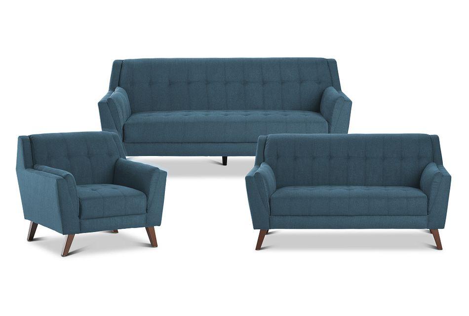 Tahoe Dark Blue Fabric Living Room