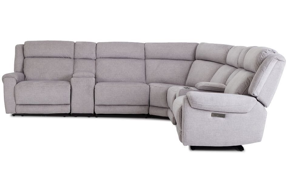 Beckett Gray Micro Large Dual Power Reclining Two-arm Sectional