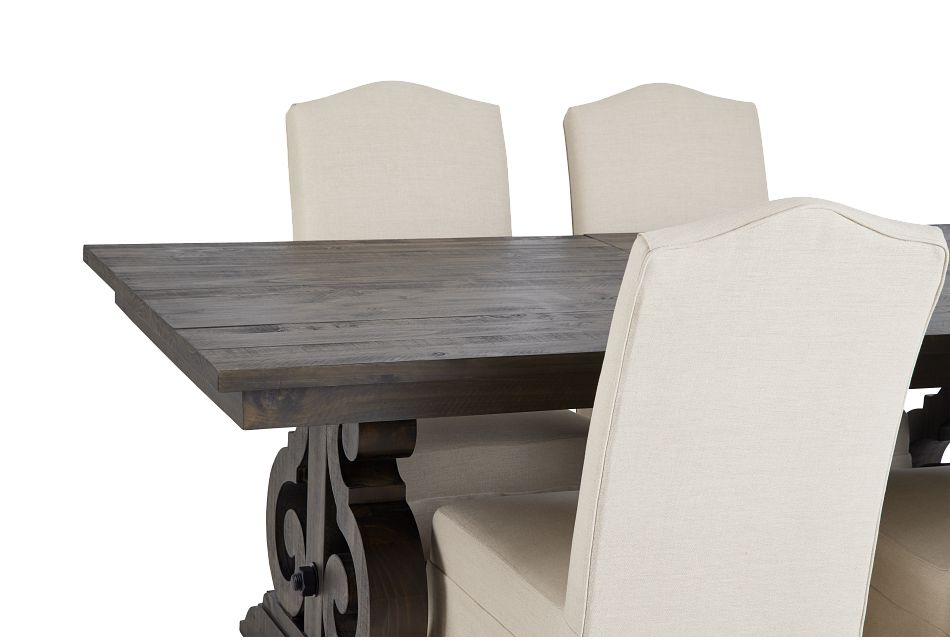 Sonoma Dark Tone Trestle Table & 4 Upholstered Chairs