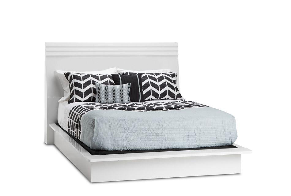 Midtown White Wood Platform Bed