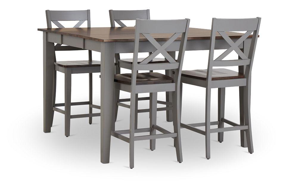 Sumter Gray High Table & 4 Barstools,  (3)