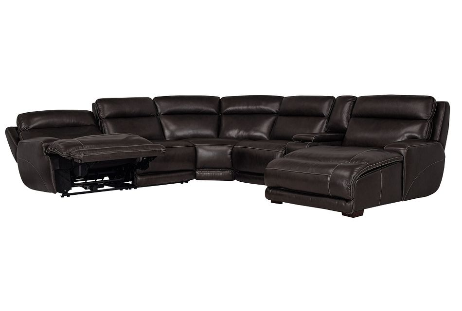 Gable Dark Brown Leather Right Chaise Power Reclining Sectional