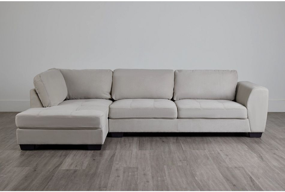 Perry Light Gray Micro Left Chaise Sectional,  (0)