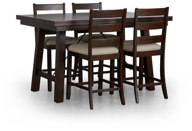 Jax Dark Tone High Table & 4 Wood Barstools (1)