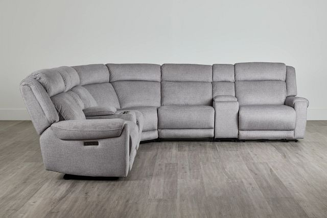 Beckett Gray Micro Large Triple Power Reclining Two-arm Sectional (0)
