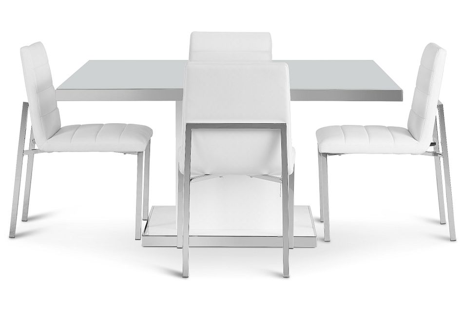 Miami White Square Table & 4 Chairs
