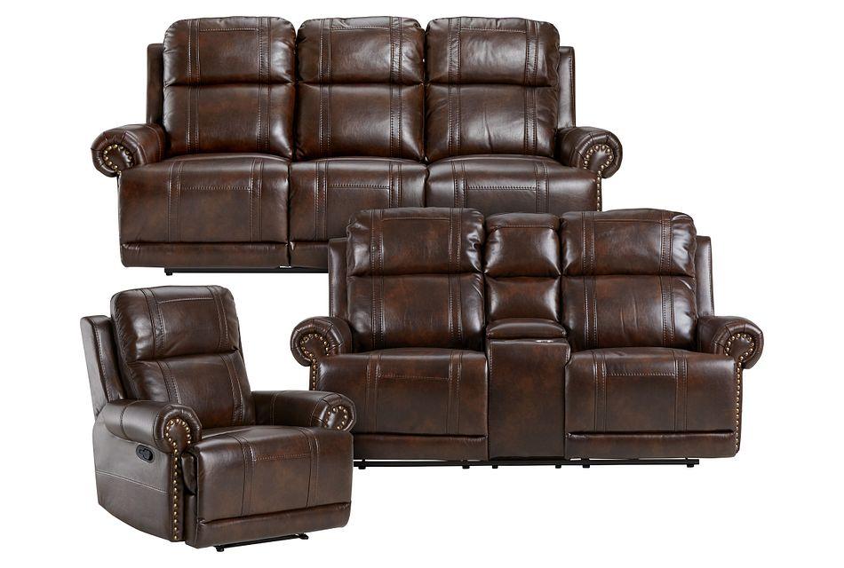 Hunter Dark Brown Micro Manually Reclining Living Room