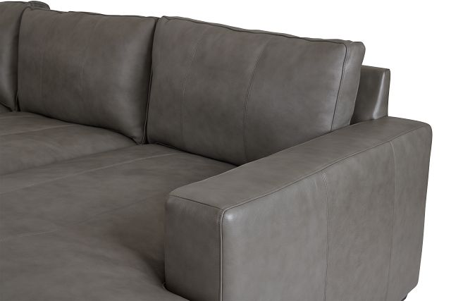 Dawkins Gray Leather Right Chaise Sectional