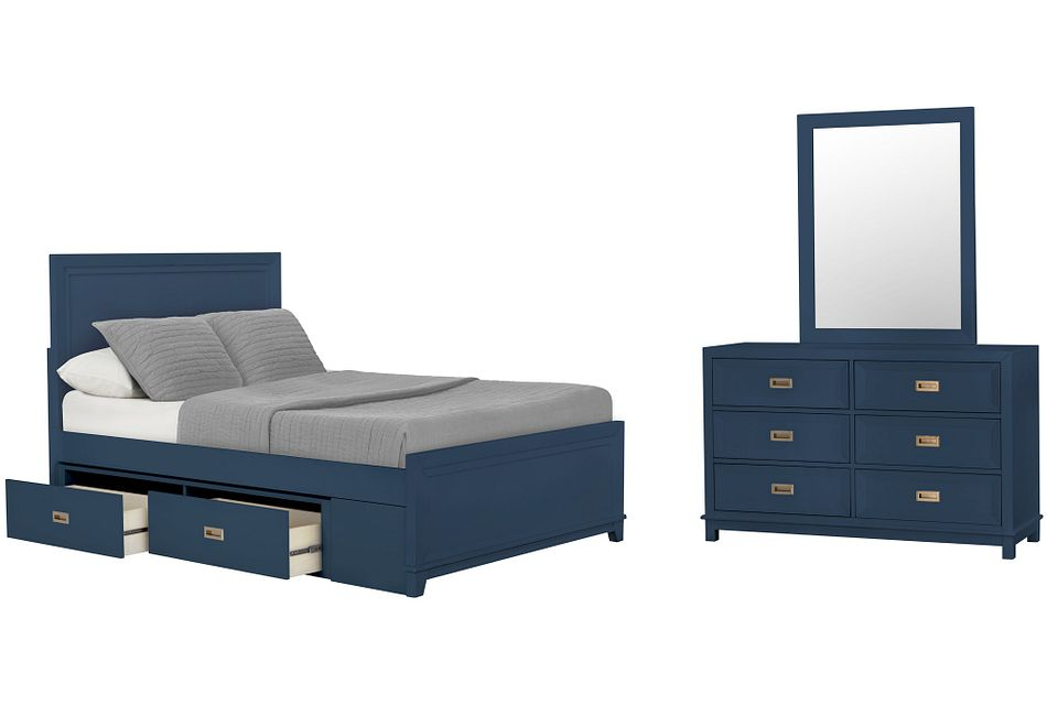 Ryder Dark Blue Panel Storage Bedroom