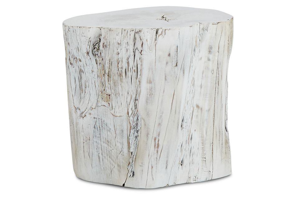 Stump White Wood Accent Stool