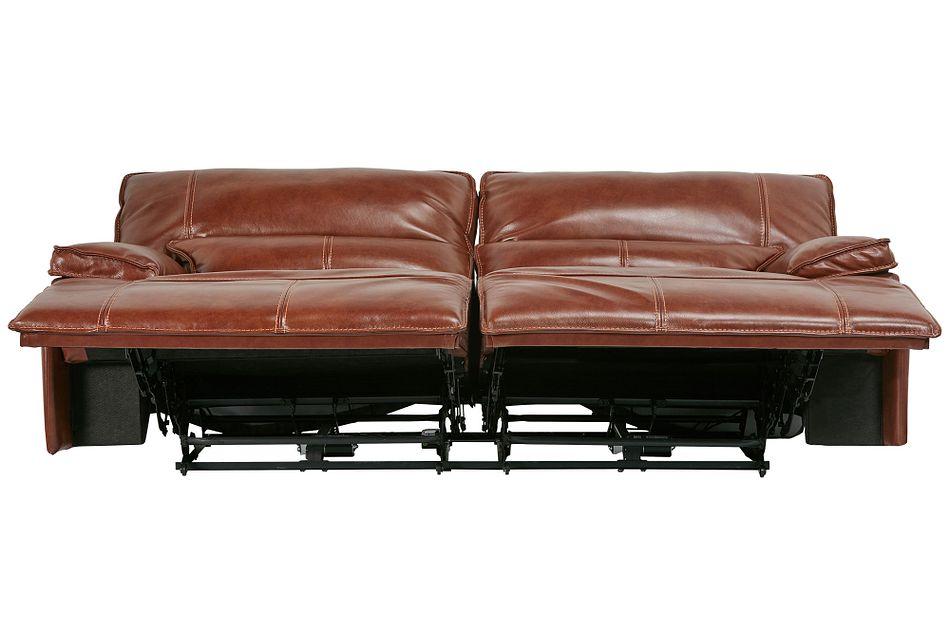 Jesse Medium Brown Lthr/vinyl Power Reclining Sofa