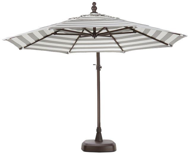 Cayman Gray Stripe Cantilever Umbrella Set (1)