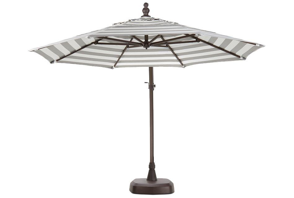 Cayman Gray Stripe Cantilever Umbrella Set