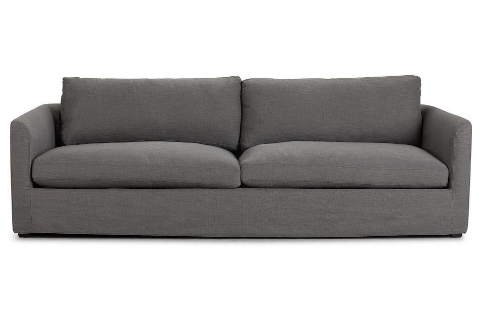 "Willow 102"" Gray Fabric Sofa"