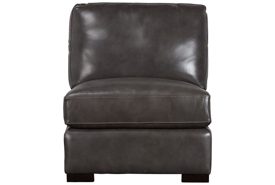 Germaine Dark Gray Leather Armless Chair