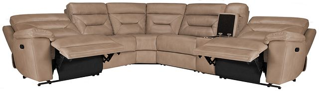 Phoenix Dark Beige Micro Small Two-arm Manually Reclining Sectional (2)