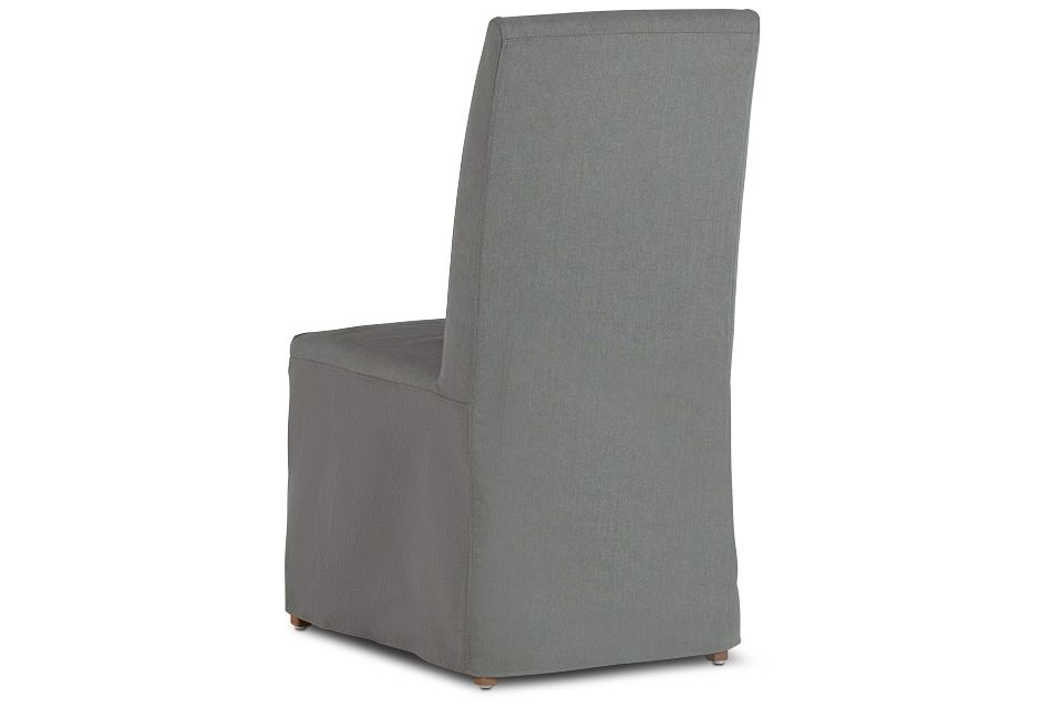 Destination Light Gray Long Slipcover Chair With Light Tone Leg