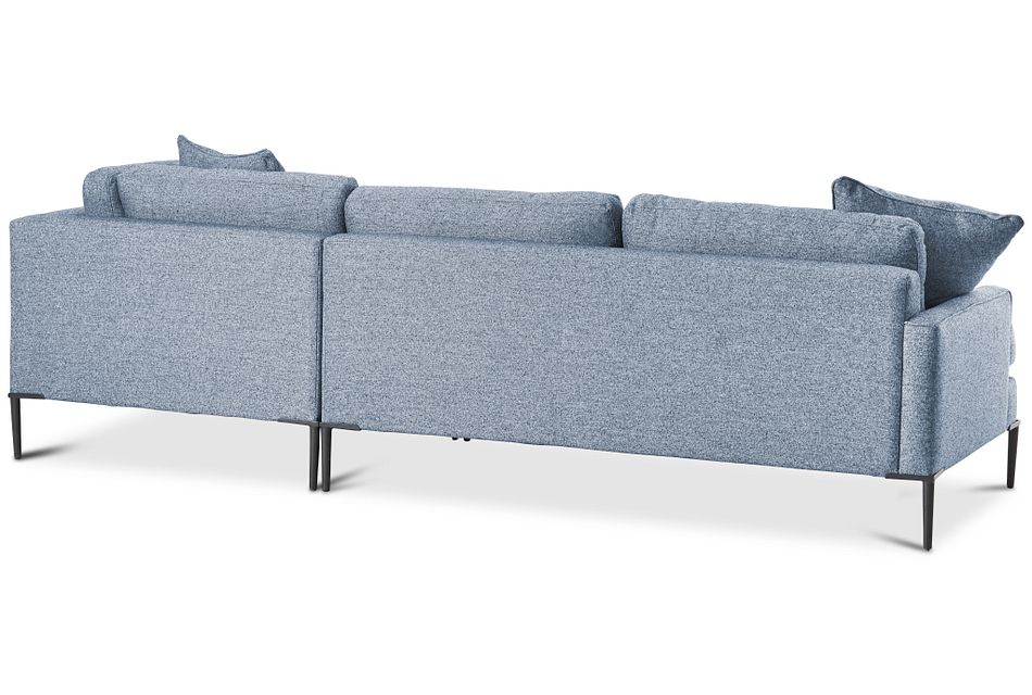 Morgan Blue Fabric Right Bumper Sectional W/ Metal Legs