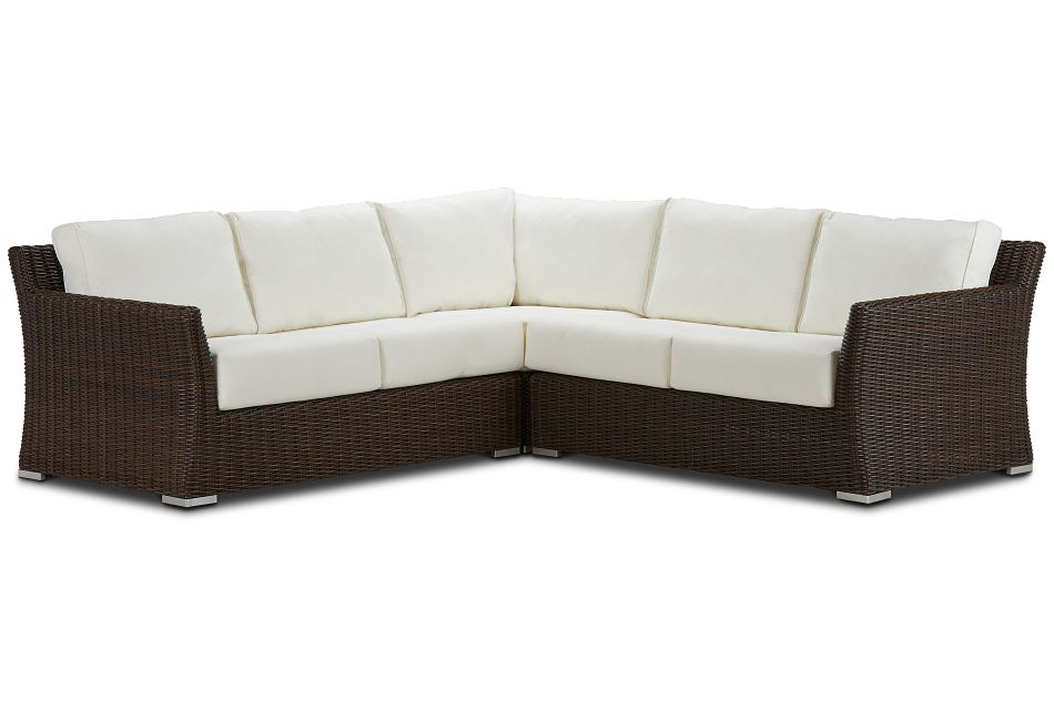 Southport White Woven Small Two-arm Sectional
