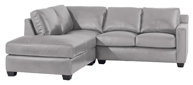 Carson Gray Leather Left Bumper Sectional (1)
