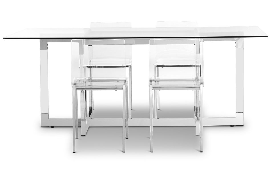 Denmark Glass Rect Table & 4 Chairs,  (2)