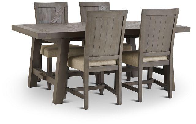 Taryn Gray Rect Table & 4 Wood Chairs (1)