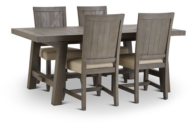 Taryn Gray Rect Table & 4 Wood Chairs