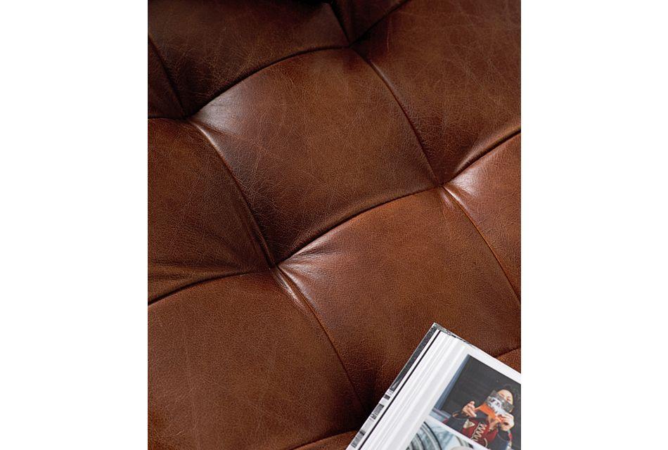 Saddle Medium Brown Leather Accent Ottoman