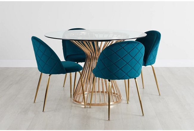 Munich Gold Glass Table & 4 Dark Teal Upholstered Chairs