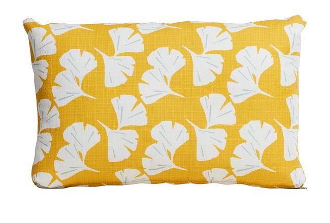 Gingko Yellow Lumbar Indoor/outdoor Accent Pillow