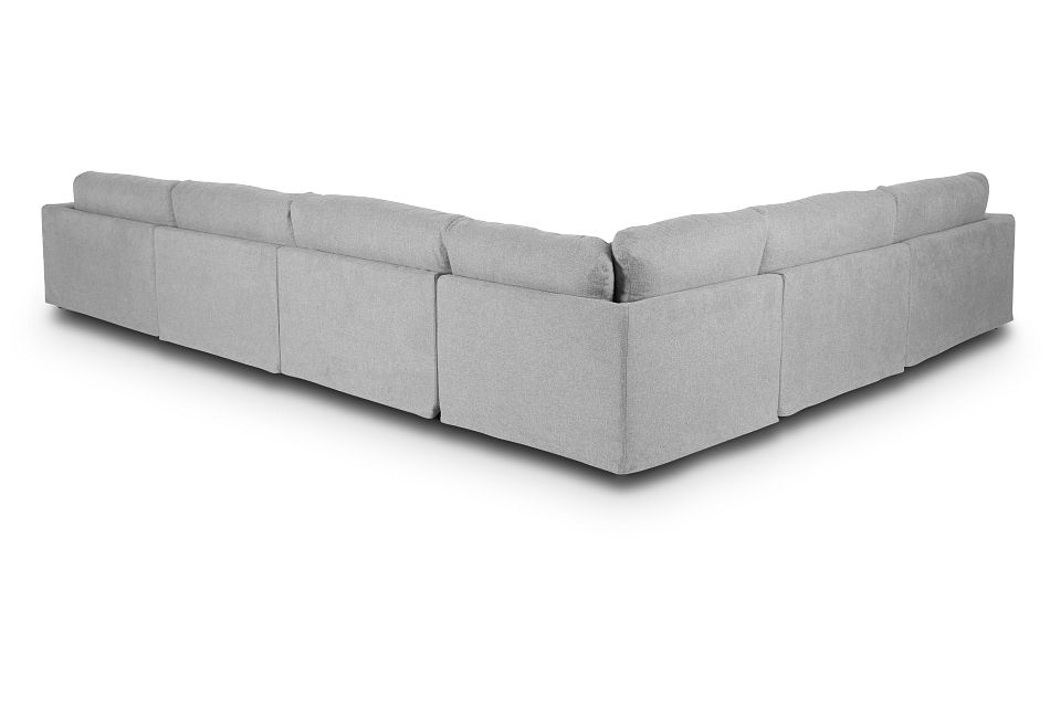Cozumel Light Gray Fabric 7-Piece Chaise Sectional, %%bed_Size%% (2)