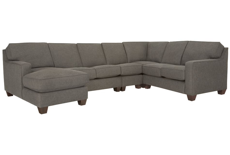 York Dark Gray  FABRIC Large Left Chaise Sectional