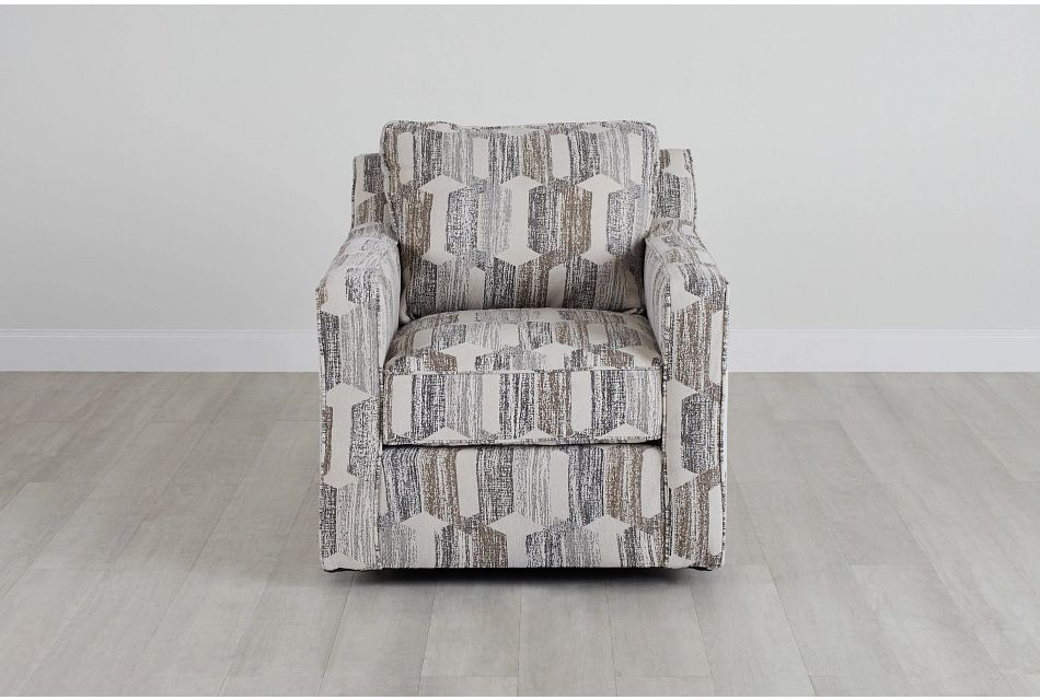 Millie Gray Fabric Swivel Accent Chair,  (0)
