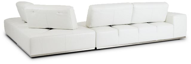 Landon White Leather Right Bumper Sectional