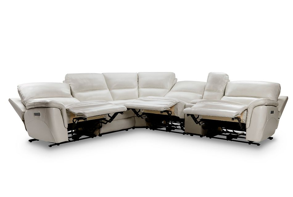 Bryson Light Gray Lthr/vinyl Medium Triple Power 2-arm Sectional