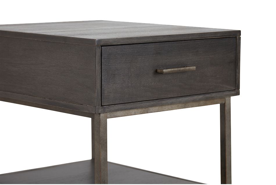 Fulton Dark Tone Wood Rectangular End Table