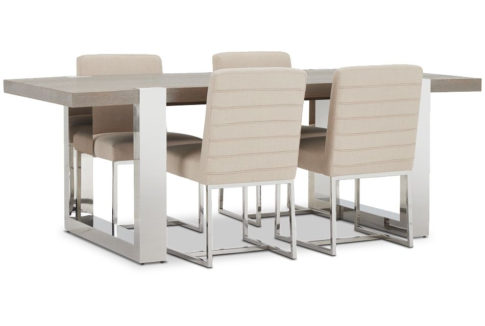 Berlin Beige Rect Table & 4 Upholstered Chairs