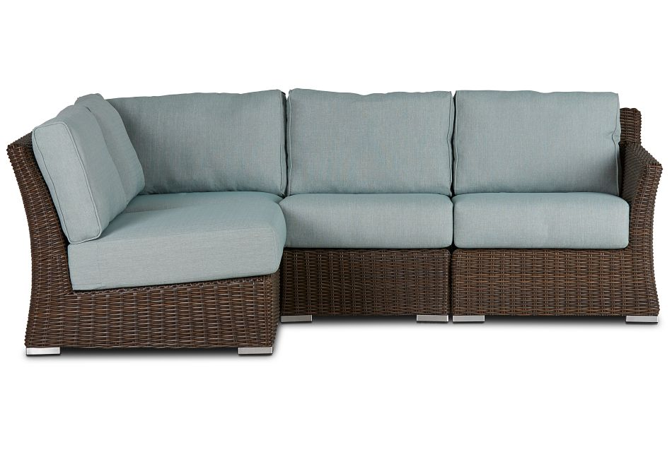 Southport Teal Right 4-piece Modular Sectional